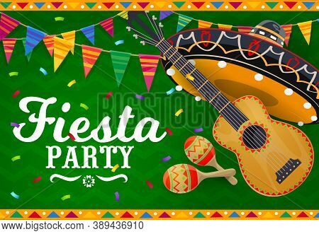 Mexican Sombrero, Guitar And Maracas Vector Banner. Fiesta Party Mariachi Musician Hat And Musical I
