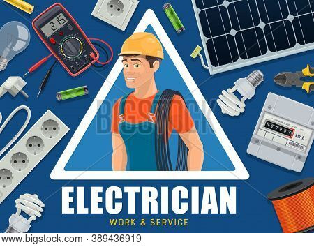 Electrician And Energy Supply Equipment Banner. Electrician In Overalls And Helmet Carrying Cable On