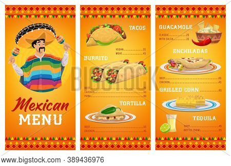 Mexican Cuisine Restaurant Menu Vector Template With Food And Drink. Meat And Vegetable Tacos, Burri