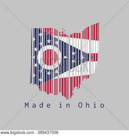 Barcode Set The Shape To Ohio Map Outline And The Color Of Ohio Flag On Grey Background, Text: Made