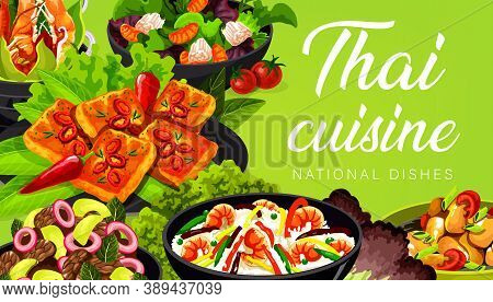 Thai Cuisine Vector Asian Food Salad With Grapefruit, Tom Yam And Fried Shrimp Rice, Chicken Noodles