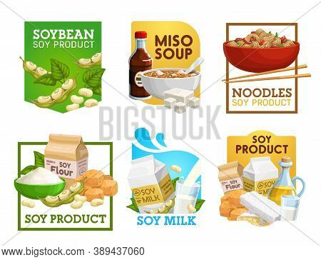 Soy Food And Soybean Products Vector Icons. Miso Soup, Noodles And Vegetarian Flour, Milk, Tempeh An