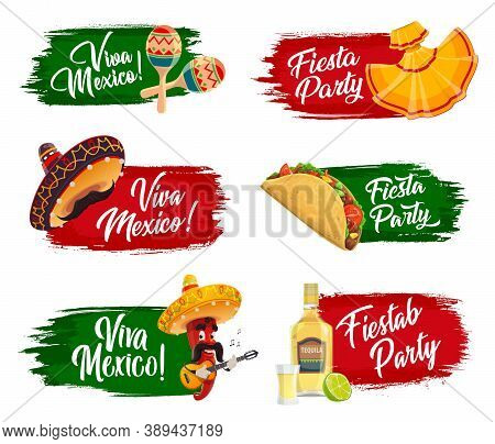 Mexican Holidays Vector Icons. Fiesta Party, Viva Mexico Isolated Labels With Sombrero , Tequila, Li