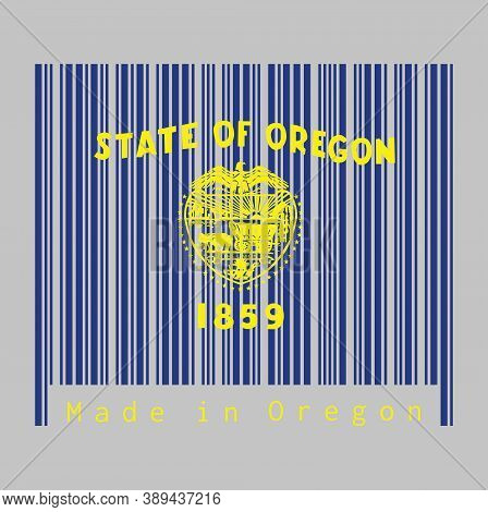 Barcode Set The Color Of Oregon Flag, Seal Of Oregon In Gold On An Azure Field. Above The Seal The T