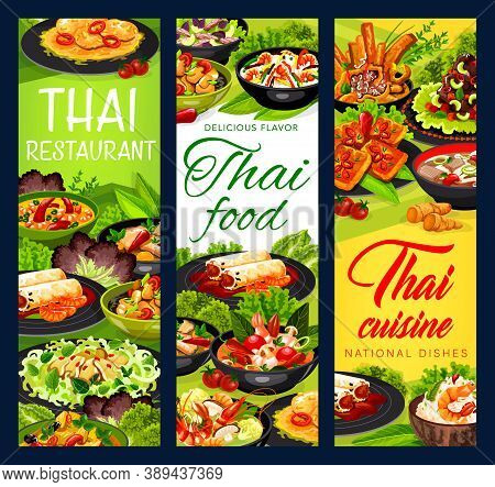 Thai Cuisine Vector Thailand Meals Spring Rolls, Thai Salad With Beef And Seasame, Coconut Milk Fish