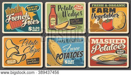 Potato Meals Retro Banners. Vegetables Farm Organic Product, Fast Food Restaurant Or Cafe Dish And G
