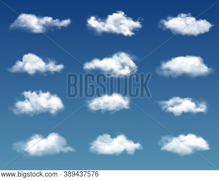 Realistic Clouds In Blue Sky. Vector White Soft And Fluffy Spindrift Or Cumulus Clouds Flying On Hea