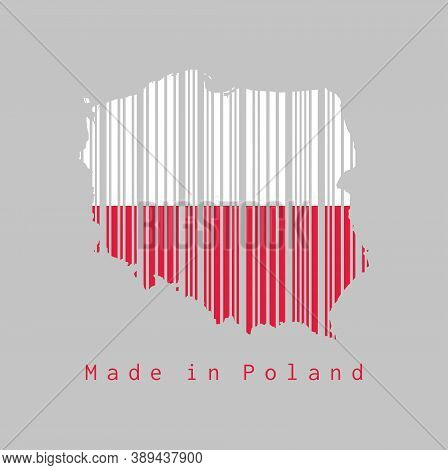 Barcode Set The Shape To Poland Map Outline And The Color Of Poland Flag On Grey Background, Text: M