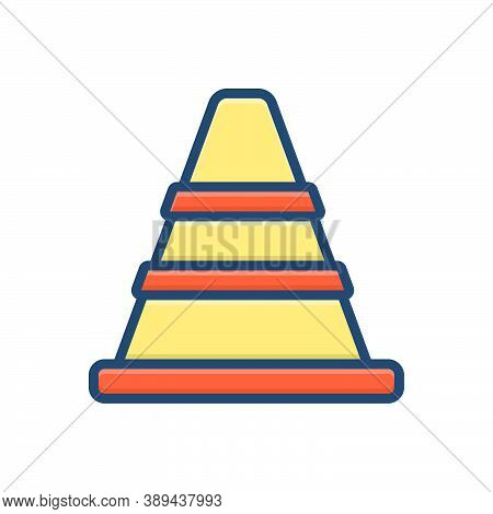 Color Illustration Icon For Traffic-cone Safety Barrier Boundary Construction Caution Repair Traffic