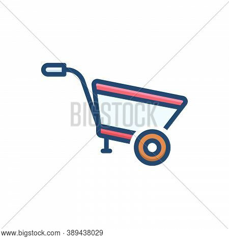 Color Illustration Icon For Wheel-barrow Construction Agriculture Pushcart Material Horticulture Tra