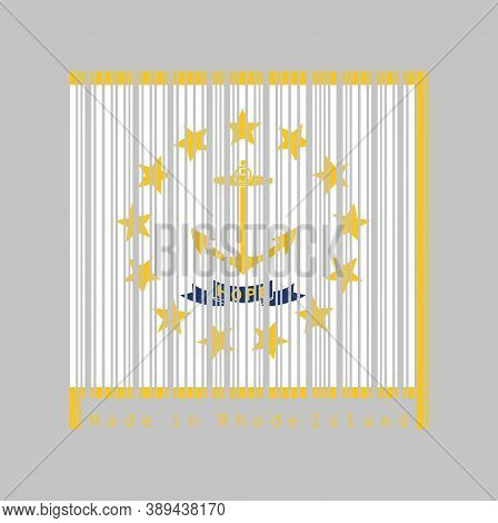 Barcode Set The Color Of Rhode Island Flag, Gold Anchor, Surrounded By 13 Gold Stars On White. A Blu