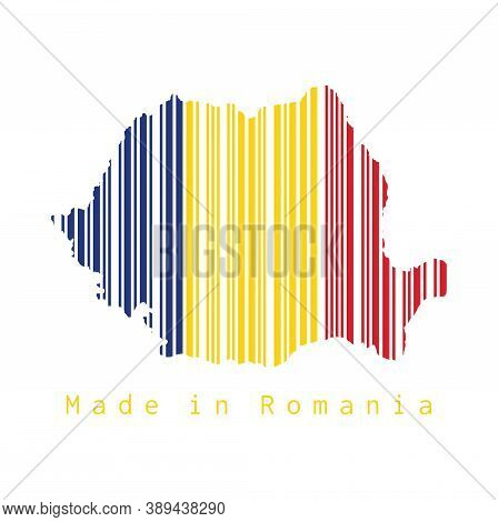 Barcode Set The Shape To Romania Map Outline And The Color Of Romania Flag On Grey Background, Text: