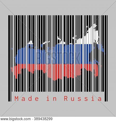 Barcode Set The Shape To Russia Map Outline And The Color Of Russia Flag On Black Barcode With Grey