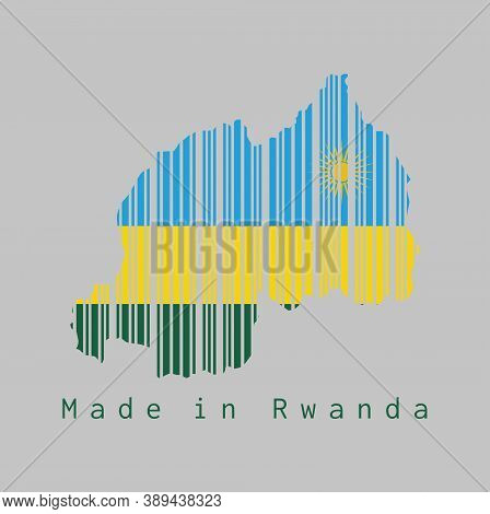 Barcode Set The Shape To Rwanda Map Outline And The Color Of Rwanda Flag On Grey Background, Text: M