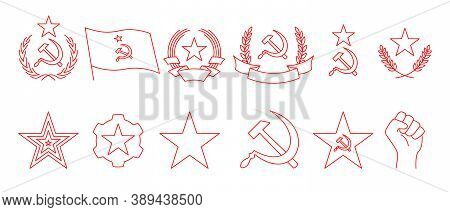 Set Of Linear Icon Of Communism. Hammer, Sickle, Wreath, Star, Flag, Gear And Fist Of Rebellion. Red