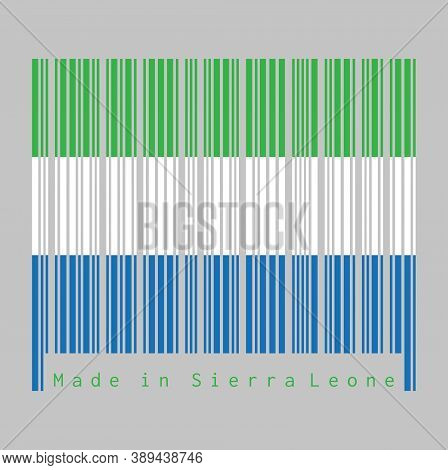 Barcode Set The Color Of Sierra Leonean Flag, A Horizontal Tricolor Of Light Green, White And Light