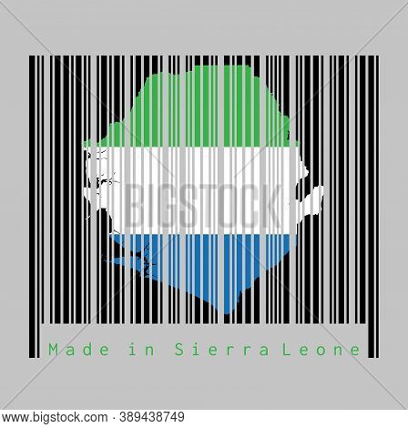Barcode Set The Shape To Sierra Leone Map Outline And The Color Of Sierra Leone Flag On Black Barcod