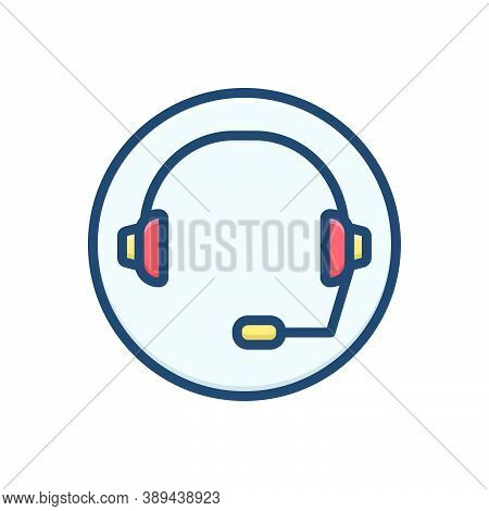 Color Illustration Icon For Support Headset Headphone Listen Call-center Cooperation Technology Tele