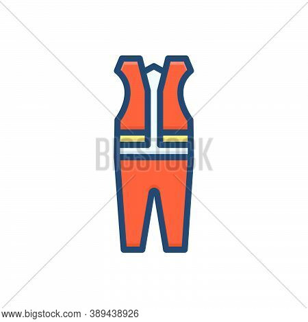 Color Illustration Icon For Protective Cloth Mandatory Caution Clothing Danger Construction Protecti