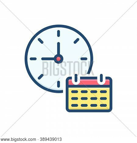 Color Illustration Icon For Time-table Dials Clock Time Analog Countdown Time-planning Time-efficien