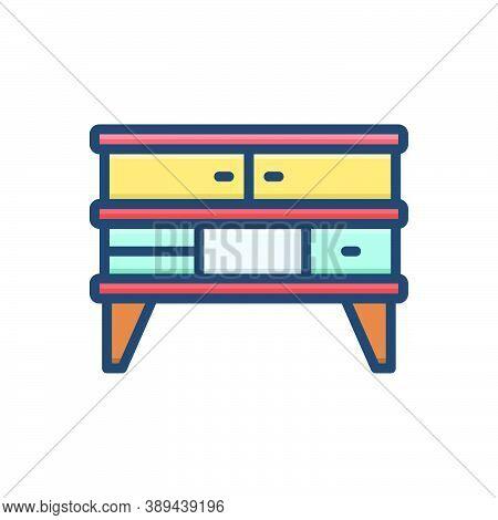 Color Illustration Icon For Furniture Cupboard Cabinet Closet  Shelf Wardrobe Home Interior Accessor
