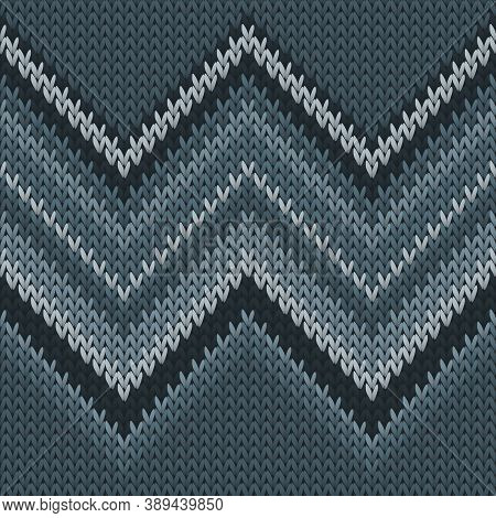 Cotton Zig Zal Lines Knit Texture Geometric Seamless Pattern. Scarf Hosiery Textile Print. Norwegian