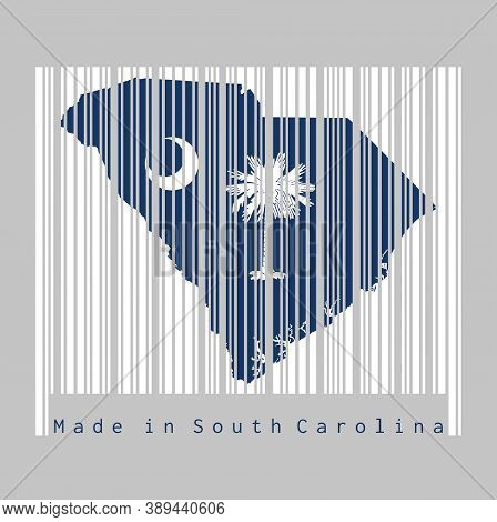 Barcode Set The Shape To South Carolina Map Outline And The Color Of South Carolina Flag On White Ba