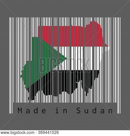 Barcode Set The Shape To Sudanese Map Outline And The Color Of Sudan Flag On Grey Barcode With Dark