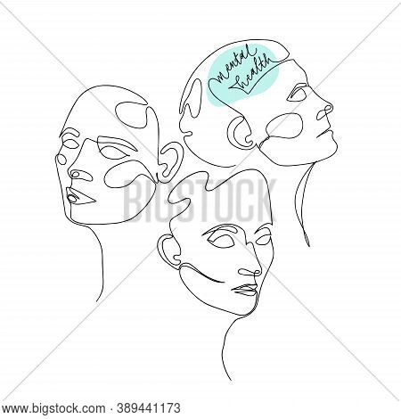 Mental Health For Women. One Line Drawing Of Three Human Heads With Quote In Brain. Vector Illustrat