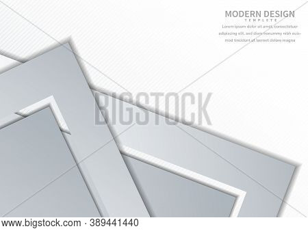 Abstract Template Triangle Arrow Corner Gray Overlapping With Copy Space For Text Design, Gray Backg