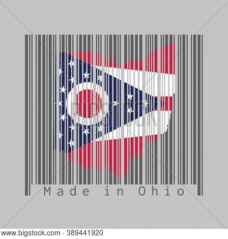 Barcode Set The Shape To Ohio Map Outline And The Color Of Ohio Flag On Dark Grey Barcode With Grey