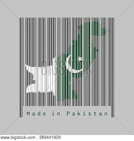 Barcode Set The Shape To Pakistan Map Outline And The Color Of Pakistan Flag On Dark Grey Barcode Wi