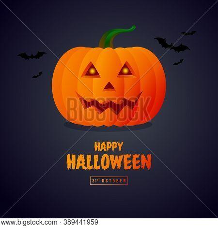 Halloween Pumpkin Icon. Vector. Autumn Symbol. Halloween Scary Pumpkin With Smile, Happy Halloween D