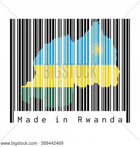 Barcode Set The Shape To Rwanda Map Outline And The Color Of Rwanda Flag On Black Barcode With Grey