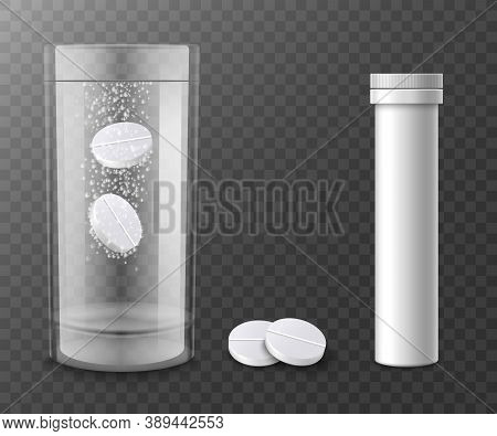 Fizzy Tablets In Water And Container, Realistic Vector Illustration Isolated.