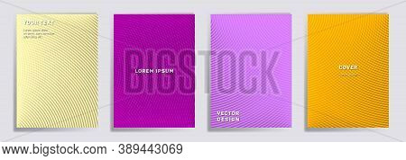Radial Lines Halftone Grid Covers Vector Set. Creative Brochure Title Page Layouts. Banners, Posters