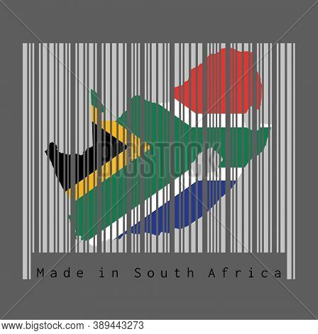 Barcode Set The Shape To South African Map Outline And The Color Of South African Flag On Grey Barco