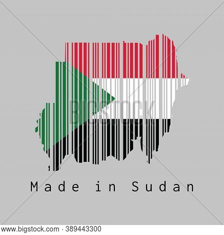 Barcode Set The Shape To Sudan Map Outline And The Color Of Sudan Flag On Grey Background, Text: Mad