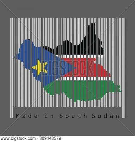 Barcode Set The Shape To South Sudanese Map Outline And The Color Of South Sudan Flag On Grey Barcod