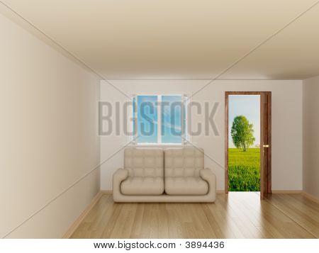 Landscape Behind The Open Door And Window