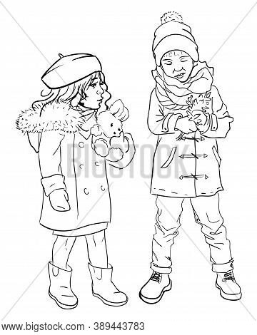 Little Boy And Girl Playing Outdoors Together. Isolated Colorless Sketch Outline Brother And Sister.
