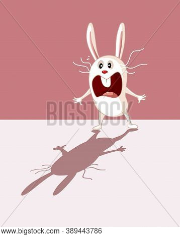 Funny Bunny Being Scared Of His Own Shadow Cartoon Illustration