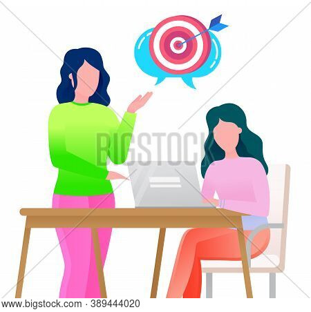 Female Character Working On Laptop On Innovative Idea For Company Development. Woman Boss Asking Of