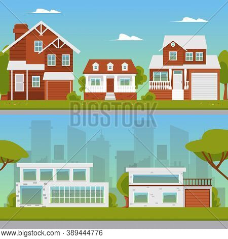 Countryside And Modern Suburban Street Backgrounds Set Flat Vector Illustration.