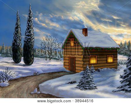 Wooden cabin in a snowy christmas landscape. Digital illustration.