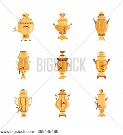 Russian Samovar Set Isolated On White Background. Traditional Culture Symbol