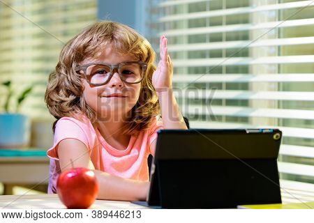 Schoolkid Making Facetime Video Calling With Tablet At Home, Using Zoom Online Class, Meeting App, H