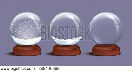 Snow Globe Templates. Empty Glass Snow Globe And Snow Globes With Snow On Violet Background. Vector