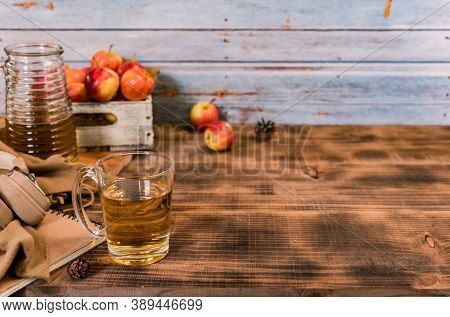 Fresh Juice With Organic Ripe Red Apples In Wooden Box. Fall Harvest Cornucopia In Autumn Season. Dr