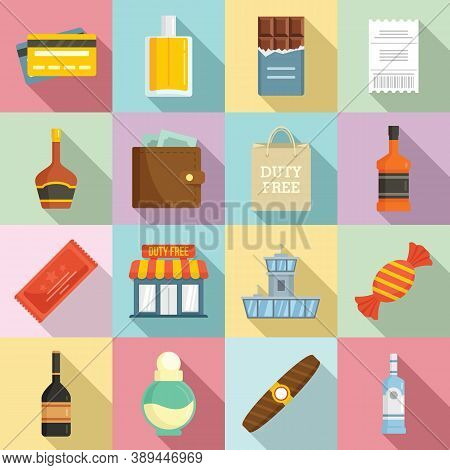 Duty Free Shop Icons Set. Flat Set Of Duty Free Shop Vector Icons For Web Design